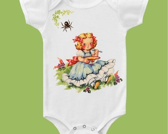 Little Miss Muffet, Vintage Nursery rhyme, Baby Girl One Piece Baby Bodysuit, Infant Tank Top or T-Shirt  by ChiTownBoutique.etsy
