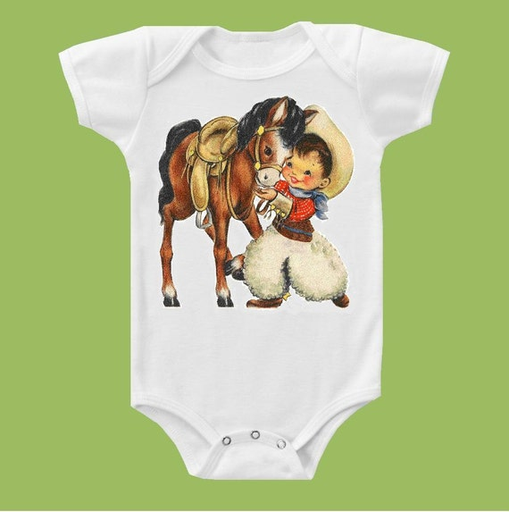 Vintage Cowboy and Pony One Piece Baby or T- Shirt by ChiTownBoutique.etsy