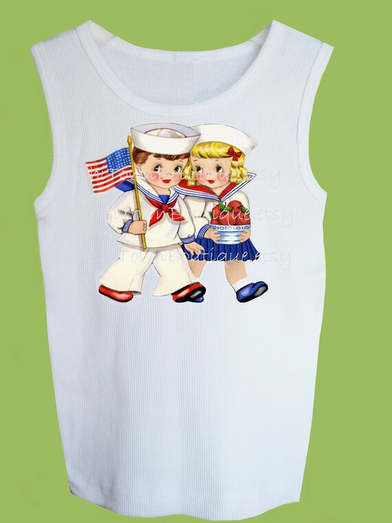 Patriotic 4th of July Vintage Kids Tank, T-Shirt, red white blue, One Piece Baby by ChiTownBoutique.etsy