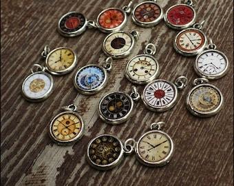 Wonderland Pocket Watch Clock FULL 17 Charms SET