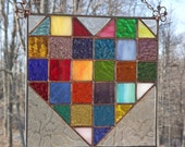Stained Glass Heart Quilt Block Suncatcher Panel Multi Color
