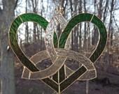 Celtic Stained Glass Mother's Heart Suncatcher  Green