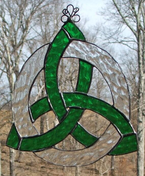 Stained Glass Celtic Knot Suncatcher Trinity Knot Kelly