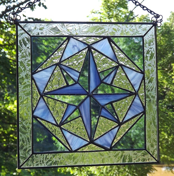 Stained glass panel quilt block tumbling jewel blue for Window pane quilt design