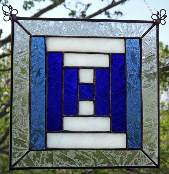 Stained Glass Quilt Block Panel Suncatcher  Courthouse Steps  Blue