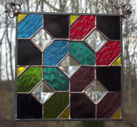 Quilt Block Stained Glass Suncatcher Panel Quilt Square Multi Color Bowtie