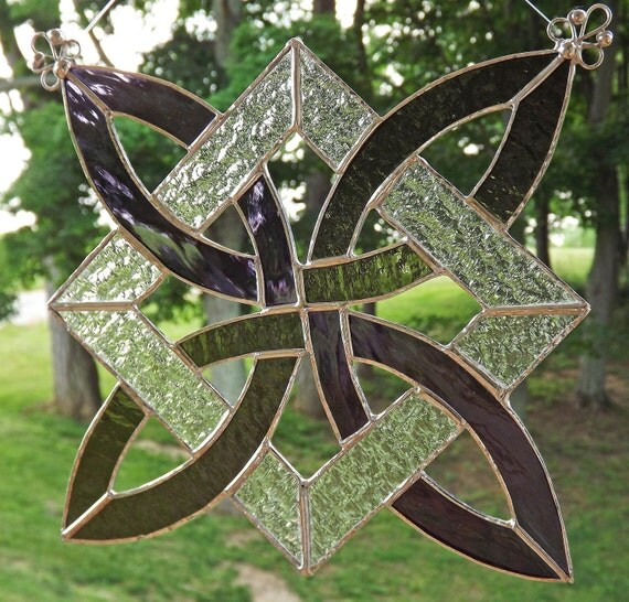Celtic Knot Stained Glass Suncatcher Panel Olive Green and Purple