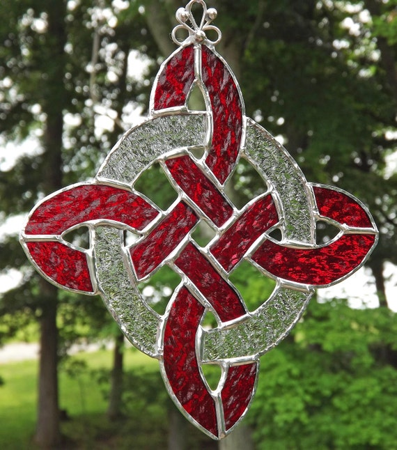 Celtic Knot Suncatcher  Stained Glass Protection Knot  Red