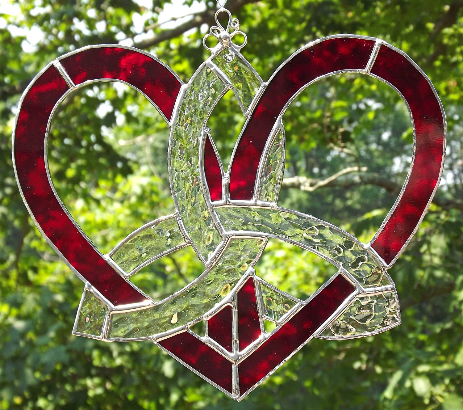 Celtic Stained Glass Mother's Heart Suncatcher Red