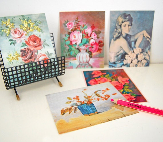 flea market paintings - 5 pretty postcards