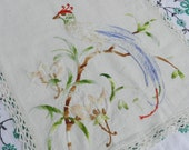 Gorgeous Vintage Hand Embroidered Peacock Table Runner