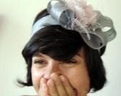 Silver sinamay headband
