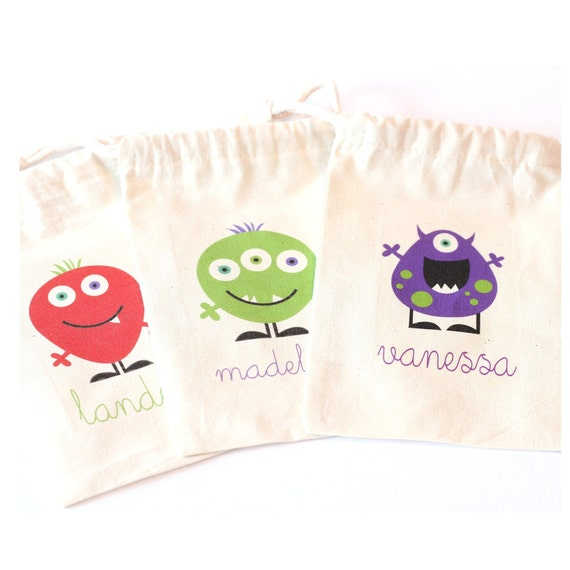 PRIVATE Listing - set of 20 MONSTER PARTY favor bags - 4x6 inches - other sizes available