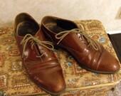 Vintage 60s  Leather Oxfords Mens 10.5