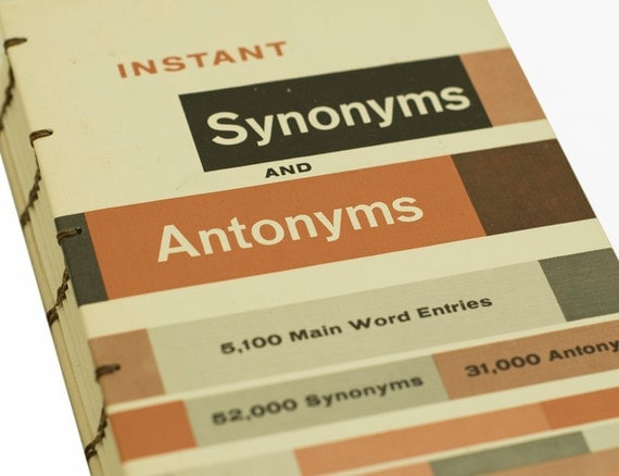 1980 SYNONYMS and ANTONYMS Vintage Mini Notebook