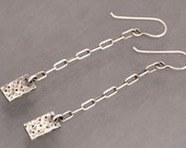 Handmade Oxidized Sterling Silver Chain and Rectangle Textured Earrings