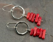 Red Coral and Silver Textured Circle Earrings