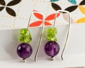 Faceted Amethyst and Peridot Beads on Handmade Sterling Silver Earrings