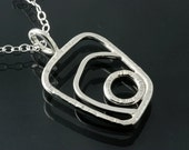 Sterling Silver Asymmetrical Rectangle Textured Pendant