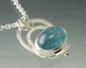 Aquamarine Big Cabochon Sterling Silver Pendant Ready to ship