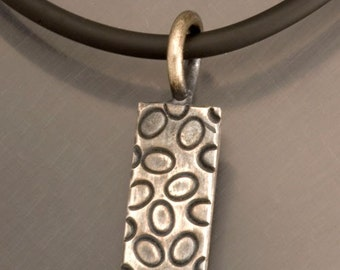Handmade Sterling Silver Oxidized Rectangle of 0s and Dots Pendant