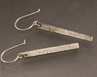 Handmade Sterling Silver Oxidized and Textured Rectangle Dangle Earrings