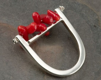 Red Coral and Silver Ring