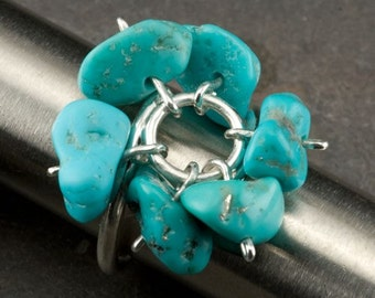 Turquoise Bead and Silver Shaker Ring