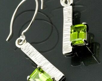 Emerald Cut Peridots in Sterling Silver Earrings
