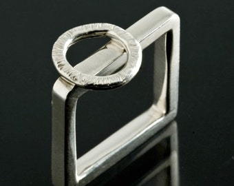 Sterling Circle on Square Ring