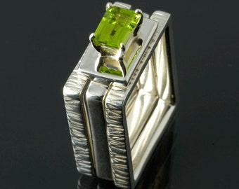 3 Silver Rings with Peridot