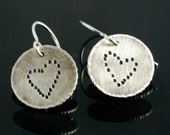 Heart Sterling Silver Earrings, Sweetheart Earrings, Valentines Earrings