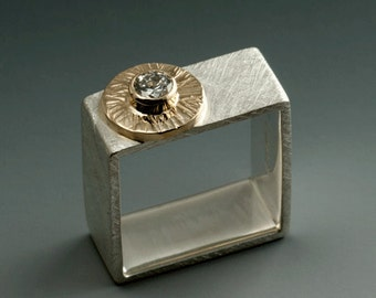Custom Diamond Wedding Square Ring 14 karat gold and Sterling SIlver
