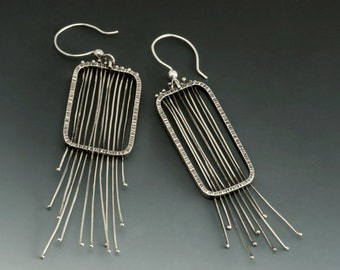 Sterling Silver Wire Mesh Modern Big Dangle Earrings Urban Chic