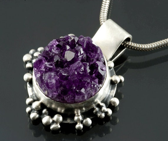 Silver Amethyst Geode Drusy Pendant oxidized Ready to Ship