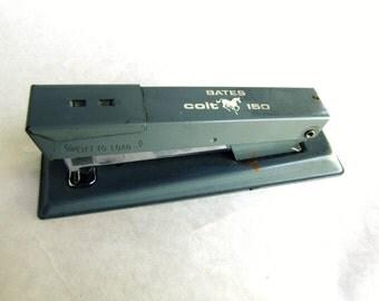 Vintage Stapler Grey Blue Bates Colt 150
