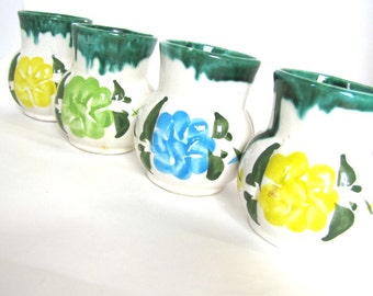 Vintage Floral Ceramic Handmade Cups - Set of 4