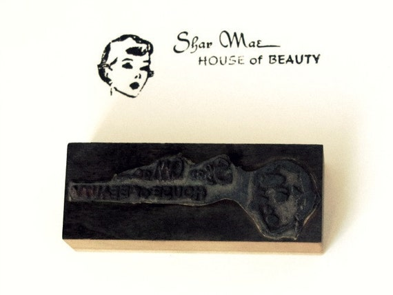 Vintage Letterpress Printer's Block Retro Woman House of Beauty