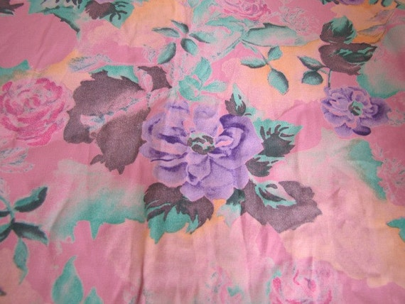 Vintage Purple and Pink Floral Rayon Fabric