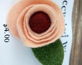 Peach Flower with Burgundy Center flower pin