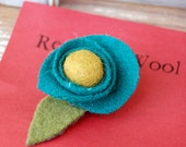 Turquoise Flower with Mustard Center (flower pin)
