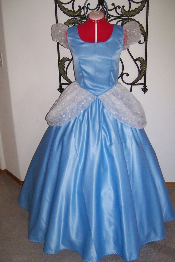 Blue Sparkle Satin and Embroidered Organza  Custom Cinderella Ball gown Dress ADULT