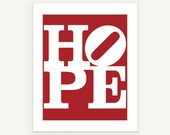 HOPE - Modern Art Typographic Poster Print - Red - 8x10