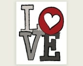 Love Heart - Red, Gray, Black Art Digital Illustration Print - 8x10 (20x25 cm) by ColorBee
