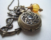 steampunk pirate  rope nautical pocket watch compass charm necklace