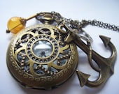steampunk pirate  rope nautical pocket watch compass charm necklace on sale today