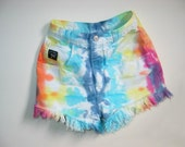 Genetic Genes Tie Dye White Denim High Waist Frayed Shorts
