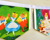 ALICE IN WONDERLAND meets the White Rabbit Vintage Little Golden Book Storybook banner Repurposed Children PartyBirthday Party Baby shower