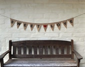 SALE SWEET LOVE Hessian Burlap Wedding Celebration Party Banner Bunting Decoration Engagement Birthday Party Baby Shower Lolly table