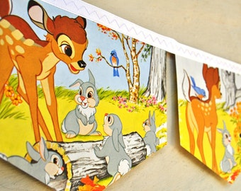 BAMBI FRIENDS Of The FOREST Banner Vintage Little Golden Book Repurposed Childrens decoration Garland eco friendly disney story baby shower
